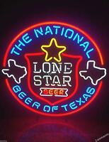 Rare New 24X24 LONE STAR The National Beer of Texas NEON SIGN BEER BAR PUB LIGHT