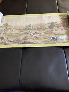One Hundred Stallions by Lang Shih-Ling (G. Castiglione) 9ft Scroll Replica