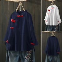 ZANZEA Women Chinese Style Tops Casual Long Sleeve Loose Tee Shirt Cotton Blouse