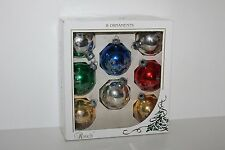 Vintage Rauch Christmas Tree Ball Ornaments Multi Color with Glitter Accents