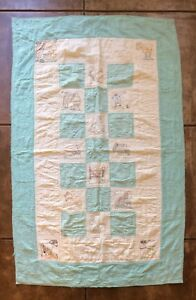 Farm Animal Quilt 46x74 Hand Embroidered Machine Sewn Distressed Cutter Fabric