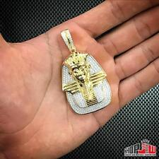 Mens 14k Yellow Gold Finish .925 Silver Egyptian Pharaoh King Tut Pendant Iced