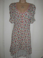 Next size 8 off white jersey material dress with floral pattern and buttons