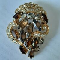 Vintage. Retro Czech Republic Beautiful Women's Brooch. Pin.  Cognac glitter