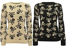 New Ladies Skull Bones Print Winter Knit wear SweatShirt Jumper Tops 8-14