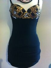 BNWT Little Black Bodycon Dress with Gold & Silver Jeweled Bustier Size S - M