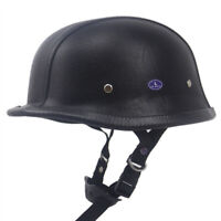 DOT German Motorcycle Half Helmet Chopper Scooter Leather Helmet S/M/L/XL/XXL