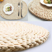 US Natural Straw Weave Oval Placemat Insulation Tableware Cup Dinner Mats Pads