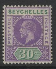 SEYCHELLES SG77 1913 30c VIOLET & GREEN MTD MINT