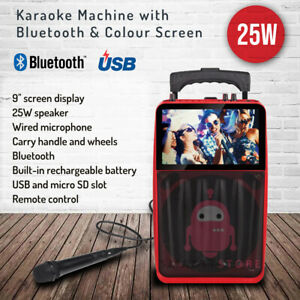 Portable Bluetooth Karaoke Machine Colour screen USB Port Microphone Remote