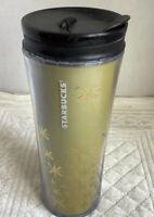 2011 Gold Starbucks Travel Mug, 12fl Oz Gold Stars Snowflakes, White Lettering
