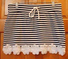 J.Crew Navy & White Stripe Cotton/Spandex Skirt, Rosette Flowers on Hem, Small