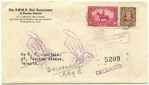 Canada 1936 IOOF registered drop cover, returned, deceased, re-entry & documents