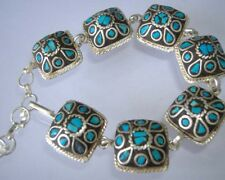 Lucky Chinese Tibet Miao Silver inlaid natural turquoise,men's boys bracelet