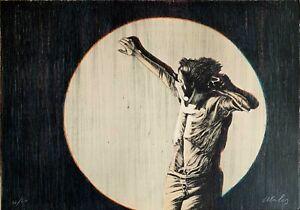 Franco Mulas litografia 1972 acqua e luce 65x46  firmata numerata Bisonte