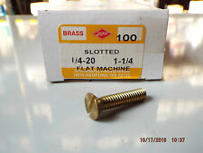 Brass Flat Head Slotted Machine Screws 1/4-20 x 1 1/4
