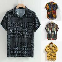 Mens Vintage Ethnic Style Print Loose Short Sleeve T-Shirt Blouse Tops Plus Size