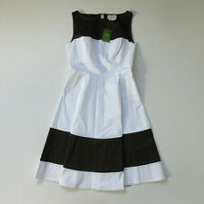 NWT Kate Spade Boatneck Fit & Flare in Brown White Stripe Cotton Dress 4 $298