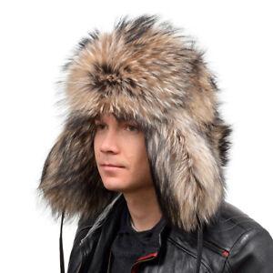 Genuine Men's Raccoon Fur Ushanka Hat III Natural Fur Warm Winter Ski Cap FOX