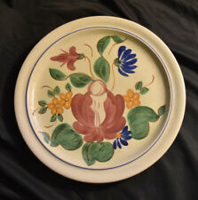 "Red Wing Pottery Orleans Round Platter 12"" Chop Plate Vintage 1940s Flowers"