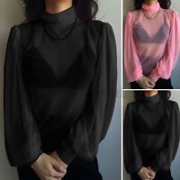 Womens Sexy Sheer Mesh Casual Club Tops T-Shirt Tee High Neck Slim Shirt Blouse