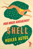 Affiche Originale - Shell - Carburant et Huiles Autos - Essence - Lévrier - 1925
