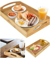 Bamboo Serving Tray Extra Large Breakfast In Bed Food Table With Handles Wood