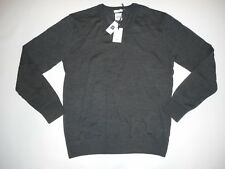 GAP Extra Fine Merino Wool V-NECK Pullover Gray Knit SWEATER Mens Size SMALL NEW