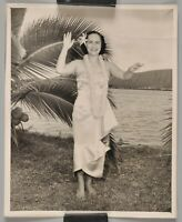Vintage Polynesian Hawaiian Woman Dancer Black & White Photo Palm Tree