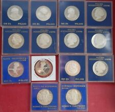 Fourteen (14) Poland .625 silver 100 zl commemoratives, impaired proofs in cases