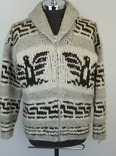 COWICHAN INDIAN Authentic Thunderbird Eagle Hand Knit Wool Zippered Sweater