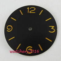 38.9MM PARNIS Sterile Black Watch Dial fit 6497 6498 ST36 movement watch