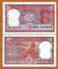 India, 2 Rupees, ND, P-53Ae, UNC > Red Tiger