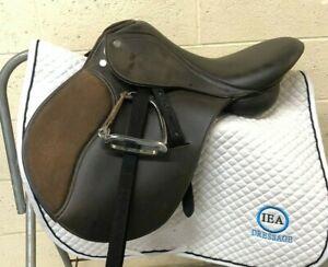 """TUFF RIDER - English/Jumping SHOW Saddle - 16 1/2"""" - Leathers/Irons - WONDERFUL"""