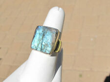 Raw Natural Square Labradorite Crystal Ring, Blue Flashy, Sterling, sz 7.5