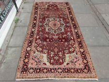 Vintage Hand Made Traditional Rug Oriental Wool Red Long Rug 247x123cm