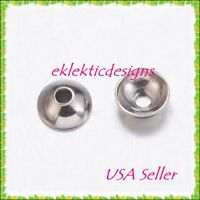 4mm 50pcs 304 Stainless Steel Apetalous Dome Bead Caps Tops Jewelry Findings