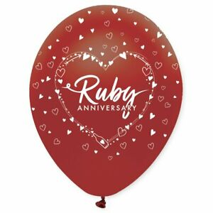 6 x 40th Ruby Wedding Anniversary Latex Balloons Party Decorations
