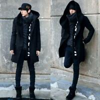 Korean Fashion Mens Hooded Trench Wool Blend Thicken Slim Parka Overcoat Outwear