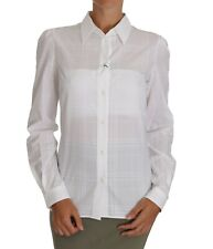 DOLCE & GABBANA Collar Blouse White Silk Shirt Ruffle IT42/US8/M $800