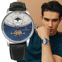 FORSINING Men's Tourbillon Mechanical Women Watch Auto Day Leather Strap Band