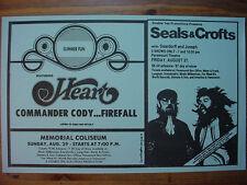 HEART, COMMANDER CODY, FIREFALL, 9/29/76 - SEALS & CROFTS, 9/ 27/76 Handbill