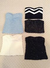 Lot of 5 Womens Tube Corset Strapless Sequin Chevron Striped Cut Out Tops M L XL