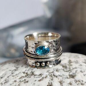 Blue Topaz Spinner Ring 925 Sterling Silver Plated Handmade Ring Size 7.75 JP338