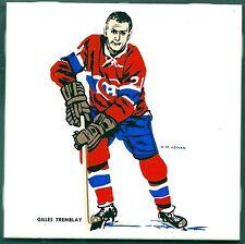 1962-63 H.M.Cowan Ceramic Tile's Canadiens' Gilles Tremblay, Mint