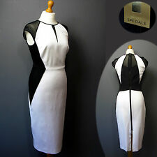 New PER UNA SPEZIALE Colour Block BODYCON DRESS ~ Size 16 ~ WHITE & BLACK
