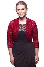SleekTrends Women Elbow Sleeve Sequin Lace Bolero Jacket - Dressy Shrug