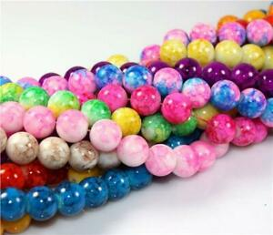 200x 6mm 100x 8mm 50x 10mm MARBLE EFFECT GLASS DRAWBENCH BEADS COLOUR CHOICE