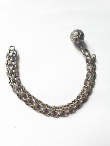 Ancien Bracelet En Argent Massif Vermeille Et Grelot 1900