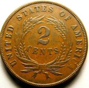 USA: 1864 Two Cents Peice  Almost UNC condition, Brown color  57-643